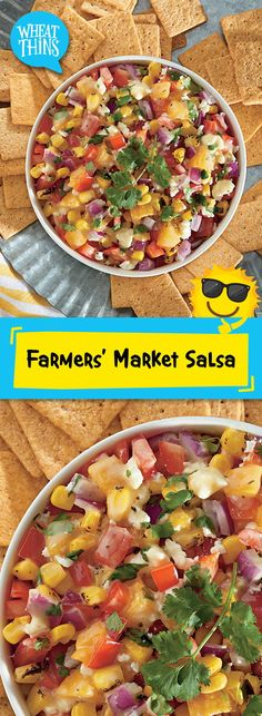 Fresh fruit & vegetables come together in this beautiful medley of seasonal flavors. Our quick and easy recipe for Farmers' Market Salsa is made with grilled corn, juicy Roma tomatoes, a fresh peach, flavorful red peppers, savory onions, refreshing cilantro and fresh-squeezed lime juice. Serve to friends and family with a generous serving of WHEAT THINS Original Snacks. 20 mins makes 28 servings, great for a crowd!