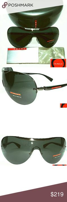 Prada Linea Rossa Black Matte Gunmetal Sunglasses Up sale is a new 100% Authentic Prada Linea Rossa PS57NS 5AV-301 Black Matte Gunmetal Sunglass, the case has few scratches on the edges, please check pictures for details. Great chance to get this on-sale deal, please ask question if any and bid with your confident.Product Description:Gender: Unisex, Frame color: Gunmetal,Lens color: Grey Green       Accessories Full packaging including original case, lens cloth & manufacturers paper,100% UV…