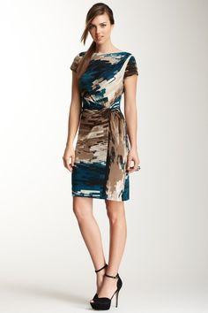 Short Sleeve Pleated Print Dress on HauteLook