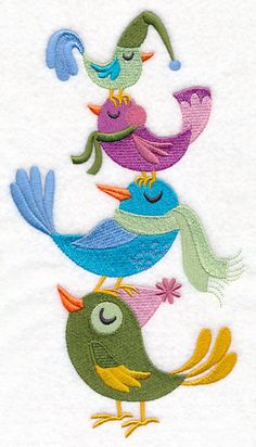 Free Embroidery Design: Bird Stack