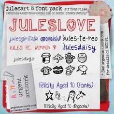 Buy the julesart 8 font pack Ttf Fonts, Font Packs, Bullet Journal, Age, Heart, Hearts