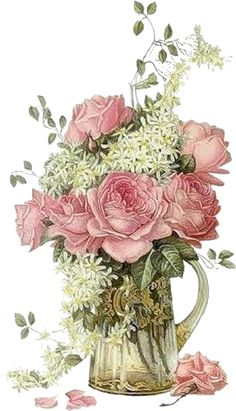 Delicate floral with glass vase