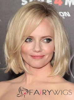 Marley Shelton Medium Straight Casual Bob Hairstyle with Side Swept Bangs – Light Blonde Hair Color – - New Deko Sites Real Hair Wigs, Human Hair Wigs, Medium Hair Styles, Natural Hair Styles, Short Hair Styles, Blonde Bob Haircut, Hairstyles With Bangs, Straight Hairstyles, Hairstyle Ideas
