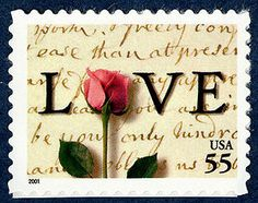 A red rose and the script of a handwritten letter from President John Adams to Abigail Smith during their courtship in the 1700s adorn this love stamp. Expressing love through letter writing is a centuries old tradition!
