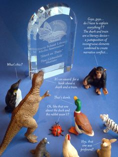 Everyone in the studio gathers to admire the Monarch Award for SHARK VS TRAIN by Chris Barton and Tom Lichtenheld! Chris Barton, Children's Choice, Beveled Glass, Book Authors, Illinois, Childrens Books, Conference, Shark, Dinosaur Stuffed Animal