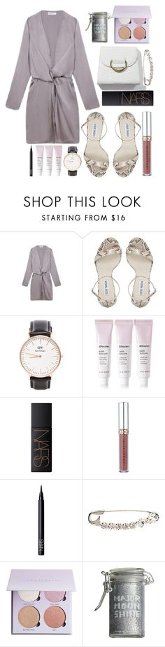 """1oo"" by anniemccurdy ❤ liked on Polyvore featuring Steve Madden, Daniel Wellington, Glossier, NARS Cosmetics, Sonia Rykiel, Anastasia Beverly Hills and Major Moonshine"