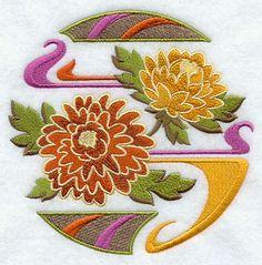 Fleurs de chrysanthème brodé farine sac par EmbroideryEverywhere