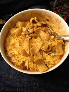 Crockpot Chicken Taco Chili (like the modifications this blogger made to the original!)