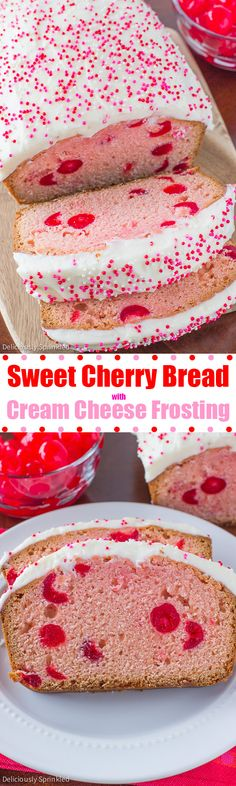 A recipe for Sweet Cherry Bread. A soft, sweet cherry bread topped with cream cheese frosting and sprinkles. Brownie Desserts, Oreo Dessert, Mini Desserts, Coconut Dessert, Dessert Bread, Just Desserts, Delicious Desserts, Yummy Food, Bread Recipes