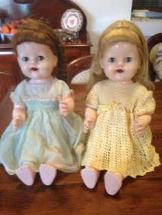 Pair vintage pedigree 20 50 cm dolls Made in England of hard material of the Good condition Walk well Eyes open and shut Talking feature not working, 1152945127 1950s, Advertising, Flower Girl Dresses, England, Australia, Traditional, Summer Dresses, Dolls, Eyes