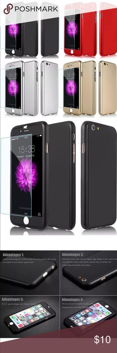 Hybrid Hard Case + Tempered Glass iphone 7/7 plus New IPhone 7 or 7 plus case. Hard thin material. Four colors available: red, black, gold, silver Accessories Phone Cases