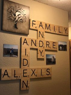 Homemade personalized scrabble wall decor by 4TrendyIdeas on Etsy #HomemadeWallDecorations, #europeanhomedecor #cheaphomedecor
