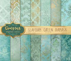 Seafoam Green Damask Textures by Origins Digital Curio on @creativemarket