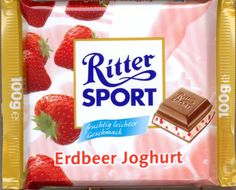 Saw something similar at shopwise. Packaging was a pink wrapper. Candy Recipes, Dessert Recipes, Desserts, Chibi Food, Ritter Sport, Chocolate Heaven, Favorite Candy, Bavaria Germany, Food Drawing