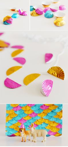If you are planning for a birthday party consider this Cupcake Wrapper Garland.Best DIY Garland Ideas To Try At Home. Its So Creatively Beautiful! Cupcake Party, Diy Cupcake, Cupcake Garland, Party Garland, Festa Party, Diy Party, Ideas Party, Homemade Party Decorations, Pamper Party