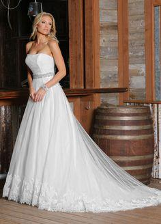 Wishesbridal Vintage #Strapless Tulle A Line #WeddingDress Ada0003