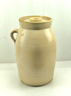 Antique Maybe CATAWBA Valley NC Pottery Butter Churn Cream Crock Jar Ear Handle #RusticPrimitive