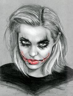 Kreg Franco Art: Portrait drawing of Angelina Jolie as The Joker. [Angelina Jo-ker] Charcoal and pastel on grey toned paper