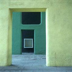 Corbusier : Inside a Chandigarh Building, Le Corbusier Green Range of Color Colour Architecture, Chinese Architecture, Modern Architecture House, Futuristic Architecture, Interior Architecture, Modern Houses, Le Corbusier, Chandigarh, Deco Restaurant