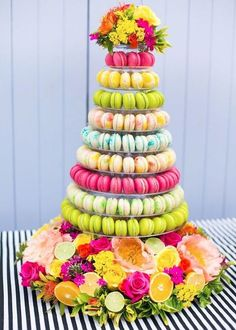 A Colorful Macaron Tower. A colorful macaron tower, created by Anges de Sucre. Macaroon Tower, Macaroon Cake, Alternative Wedding Cakes, Wedding Cake Alternatives, Tropical Bridal Showers, Summer Bridal Showers, Nontraditional Wedding, Unique Wedding Cakes, Wedding Ideas
