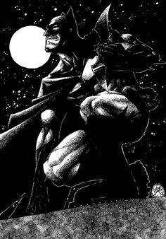Starry Knight batman comic book art 11x17 glossy print pen and ink