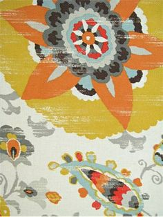 """OD Silsila Gold.  Outdoor Suzani print fabric on heavy slubby basket 100% poly. Perfect for patio or poolside for cushions, pillows or upholstery. Resist fading up to 500 direct sunlight hours. Mildew resistant. 54"""" wide. 27"""" repeat. P. Kaufmann Fabric"""