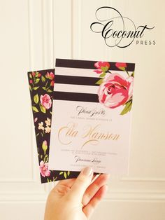 Glamorous Floral Print Bridal Shower Invitations // Double Sided, Stripes, Pink, Gold, and Black Designer Invitations // Invitations & Design by Coconut Press