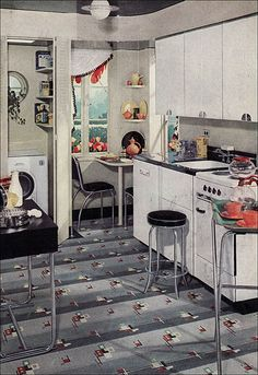 1940s laundry and kitchen. Repinned by Secret Design Studio, Melbourne. www.secretdesignstudio.com