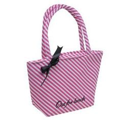 Pink and White Stripes Golddigga Lunch Bag  #pink #stipes #lunch #bag #golddigga