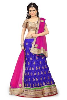 Net Party Wear Lehenga Choli In Blue Colour.It comes with matching Dupatta and Choli.It is crafted with Resham Work,Zari Work,Stone Work,Mirror Work,Sequins Work,Patch Work Design This Lehenga Choli c...