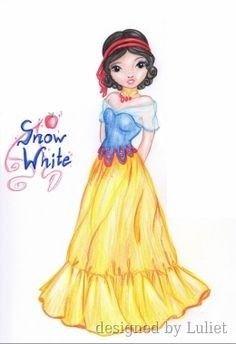 """Snow White-Disney Glamour ""-Design drawn by Luliet Disney Bridesmaids, Disney Illustration, Snow White Disney, Girly Drawings, Glamour, Creative Studio, Homemade Crafts, Designs To Draw, Blouse Designs"