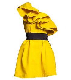 Yellow Silk One Shoulder Ruffles Dress