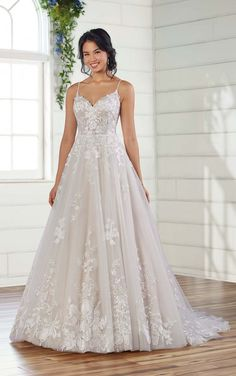 Romantic A-Line Wedding Dress with Organic Detail - Essense of Australia