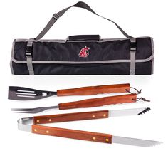 The Washington State Cougars 3-piece BBQ Tote includes all the tools you need to put together a BBQ feast all in one convenient fold and go carry tote. The 3-piece set comes in a durable black polyest
