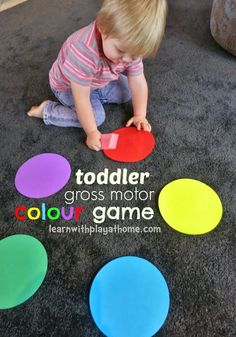 "Learn with Play at Home: Toddler gross motor colour learning game. They ""dip"" their paintbrush in a color you call out, then run to find and ""paint"" object in the house that's that color. Toddler Play, Toddler Learning, Toddler Preschool, Baby Play, Play Based Learning, Learning Games, Yoga For Kids, Exercise For Kids, Kid Yoga"