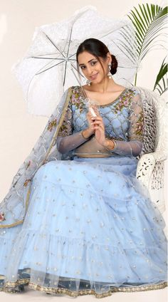 Light Greyish Blue Net Lehenga Choli