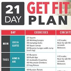 For 3 weeks, we invite you to be your best self with this 21-Day Get Fit Plan! Bodyweight workouts to target every muscle and cardio to burn the fat away!