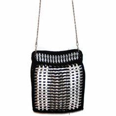Items similar to Mindi - Pop Tab Pouch Purse- Cross Body,Black and Silver, Pop Tab on Etsy Crochet Purse Patterns, Crochet Purses, Can Tabs, Soda Tabs, Chainmaille, Cross Body, Bucket Bag, Upcycle, Bottles