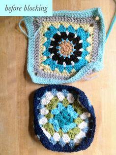 granny square sampler afghan- week 15, blocking your squares - wise craft