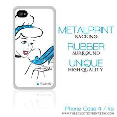 Disney Princess Cinderella Minimalist iPhone 4 & 4s Metal Print Case with Rubber Surround, glass slipper, girly, glitter,. $28.50, via Etsy.