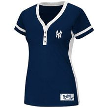 New York Yankees Women's Cooperstown League Diva Synthetic Fashion Top by Majestic Athletic
