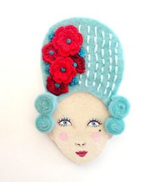 Marie Antoinette felt brooch at etsy. Fabric Crafts, Sewing Crafts, Felt Brooch, Brooches Handmade, Felt Fabric, Red White Blue, Fun Projects, Hand Stitching, Fun Crafts