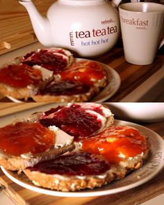 Happy breakfast set of teapot, mug and plate. Yumm!