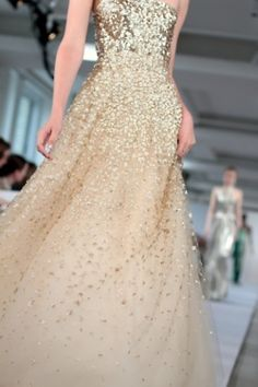 Oscar de la Renta Resort 2013 sheer embellished beaded long gown dress strapless gold nude peach tulle