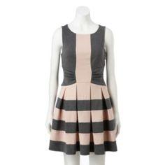 ELLE Pleated Fit & Flare Dress - Women's