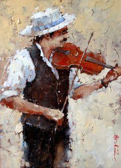 """""""Fiddler"""" -- by Andre Kohn (Russian/American, b.1972)"""