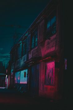 city, abandoned, creepy, pink and blue, lights, atmosphere, night
