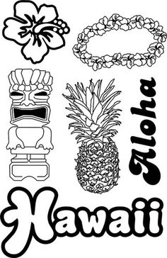 paper wizard stamp magic collection clear acrylic stamps hawaii - Hawaii Coloring Pages