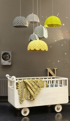 pendant lamps with yellow and grey crocheted shades