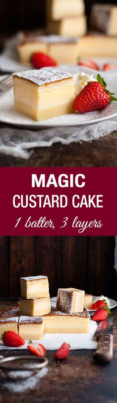 Cake Recipes Magic Custard Cake - one simple batter transforms into a 3 layered cake! A fudgey base, soft custard middle and fluffy sponge topping. 13 Desserts, Delicious Desserts, Yummy Food, Baking Recipes, Cake Recipes, Dessert Recipes, Pizza Recipes, Recipes Dinner, Food Cakes